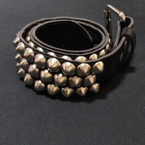 Cone Stud Black Genuine Leather Belt